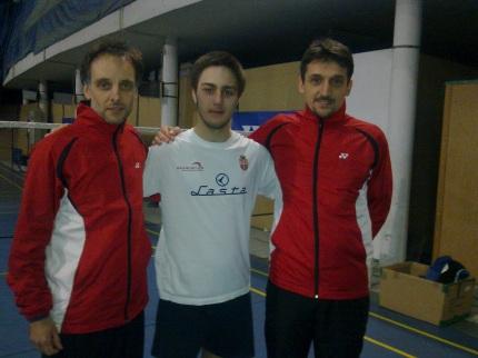 Misimović sa trenerima badminton reprezentacije Srbije